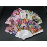 Plastic Chinese Fans - 6pcs in Various Styles and Finishes
