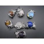 3-D Dragon Wrapped Gemstone Pendant - Assorted Gemstones