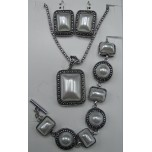 Shell Pearl 3-pc Necklace/Earring/Bracelet set - Rectangle
