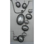 Shell Pearl 3-pc Necklace/Earring/Bracelet set - Oval
