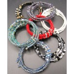 Memory Wire Bead Bracelet - Square Bead- Assorted Colors Available!