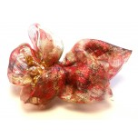 Fashion Hair Clip with Multi Color Ribbon and Bead Accent - Style 3