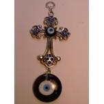 Eye Metal Pendant - Blue Eye with Cross