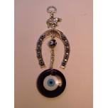 Eye Metal Pendant - Blue Eye with Horseshoe