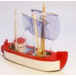 Small Sailing Ship #A with Red finish (13cm x 16cm)