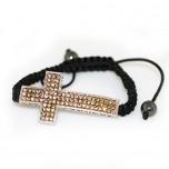 Adjustable Bracelet with Large Cross - Honey