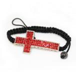 Adjustable Bracelet with Large Cross - Red